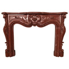 Exceptional Antique Louis XV Fireplace in Red Marble, 18th Century
