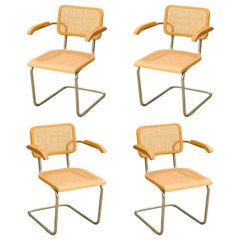 "Marcel Breuer Wicker Back Chrome ""Cesca"" Chairs"