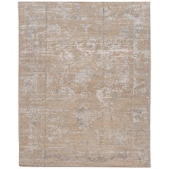 21st Century Contemporary Abstract Beige and Silver Indian Rug