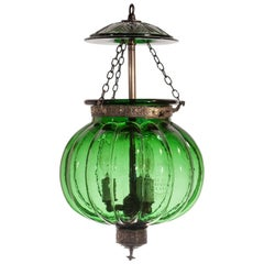 19th Century Emerald Green Pumpkin or Melon Bell Jar Lantern