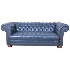 Vintage Tufted Blue Leather Chesterfield Sofa