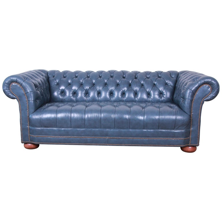 Vintage Tufted Blue Leather Chesterfield Sofa For Sale