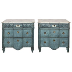 Pair of 20th Century Blue Painted Gustavian Commodes