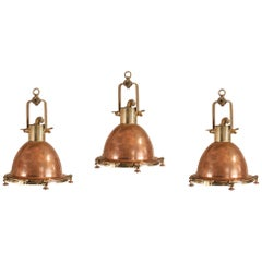 Set of Copper and Brass Maritime Pendant Lights