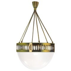 Wiener Werkstätte Opaline Glass Chandelier Re-Edition
