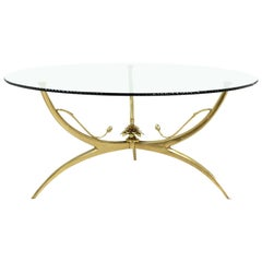 Midcentury Brass Lotus Flower and Glass Top Coffee Table