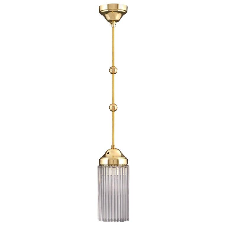 Jugendstil Art Deco Brass and Glass Single Pendant Chandelier Re-Edition For Sale