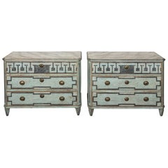 Pair of 19th Century Blue Painted Gustavian Commodes