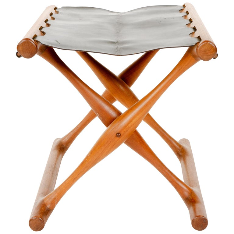 Leather Folding Stool by Poul Hundevad For Sale