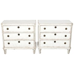 Pair of 19th Century White Painted Gustavian Commodes