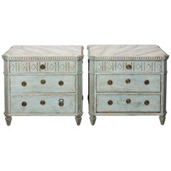 Pair of 20th Century Painted Light Green Gustavian Style Commodes