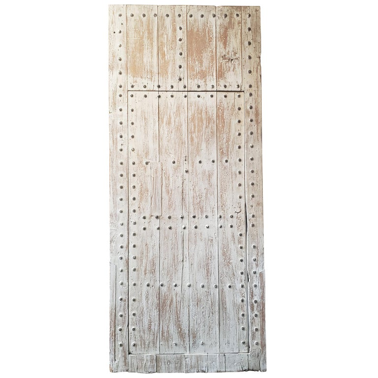 White Washed Moroccan Wooden Door, MD42 For Sale