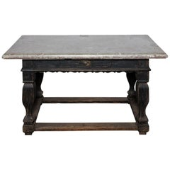 Large Black Painted Table with Stone Top