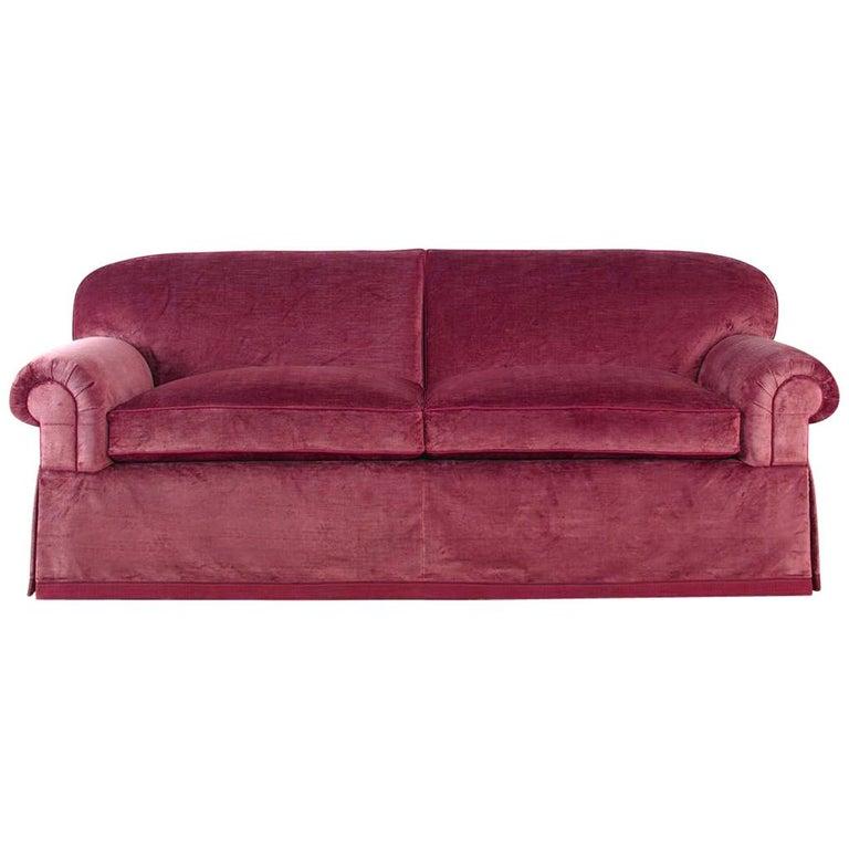Brunschwig and Fils Cavendish Tight Back Raspberry Pink Red Velvet Sofa
