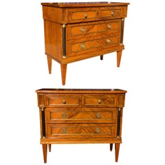 Pair of Italian Olivewood Neoclassical Commodes, Midcentury