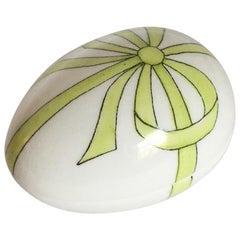 Limoges Green Bow Egg Shape Box