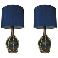 Large Midcentury Pottery Gold Tone Chain Lamps with Shade