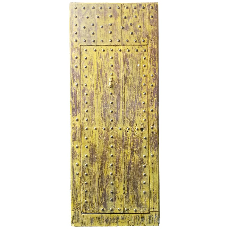 Old Yellow Moroccan Wooden Door, 23MD41 For Sale