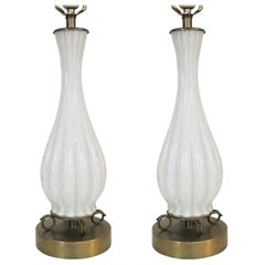 Pair of Murano Silver Sparkle Glass Lamps