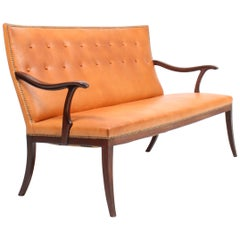 Sofa in Patinated Leather by Cabinetmaker Frits Hennigsen Made in Denmark, 1940