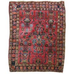 Rich Red Antique Mohajeran Persian Sarouk Square Rug