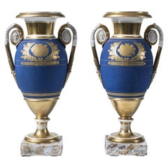 Cobalt Porcelain Vases, French Manufacture, 19th Century