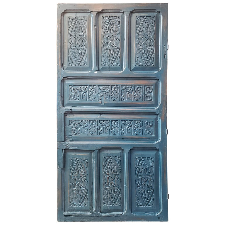 Old Blue Moroccan Wooden Door, 23MD40 For Sale