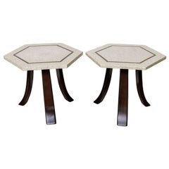 Pair of Harvey Probber Terrazzo and Dark Walnut Tables