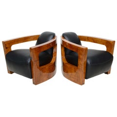 Fine Pair Italian Modern Rootwood Armchairs, 1960s