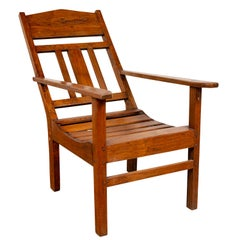 Javanese Vintage Dutch Colonial Plantation Wooden Lounge Chair with Slanted Back
