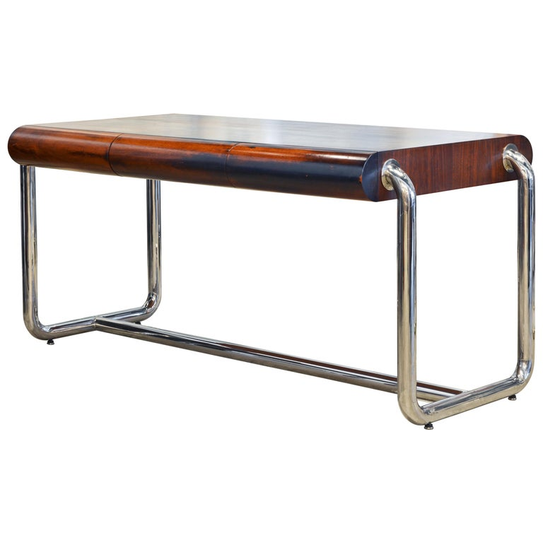 Midcentury Design Chrome and Mahogany Desk by Leon Rosen for Pace Collection For Sale