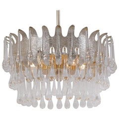 Palwa Chandelier Silver Plated & Crystal, Possibly by Ernst Palme, 1960s, German