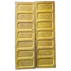 Double Panel Moroccan Wooden Door, Yellow 23MD39