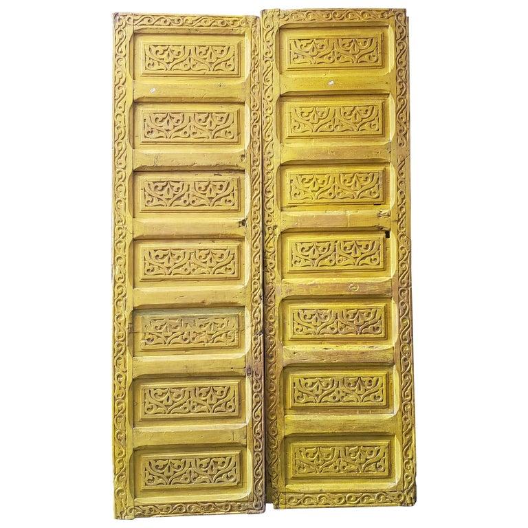 Double Panel Moroccan Wooden Door, Yellow 23MD39 For Sale