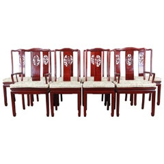 Vintage Carved Solid Rosewood Chinese Dining Chairs, Set of Ten