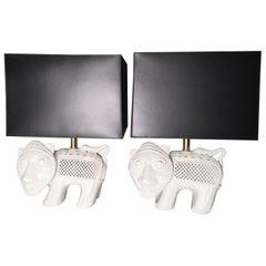 Pair of Italian Modern Ceramic Lion Lamps