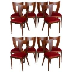 Set of 6 Italian Modern Walnut Dining Chairs, Borsani