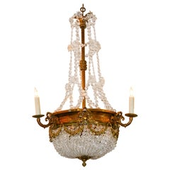 19th Century French Basket Chandelier