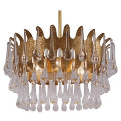 Palwa Chandelier Gold Plated Gilt Brass and Crystal by Ernst Palme, 1960s German