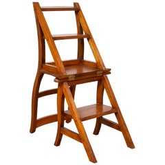 Metamorphic Vintage Dutch Colonial Teak Wood Step Ladder Folding Side Chair