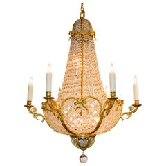 19th Century French Beaded Crystal Chandelier