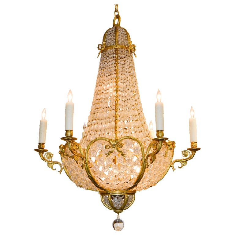 19th Century French Beaded Crystal Chandelier For Sale