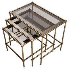 Maison Bagues Nesting Tables Brass Bamboo and Bronze Trimmed Mirror, French