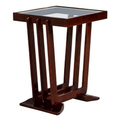 Vintage French Mahogany Art Deco End Table