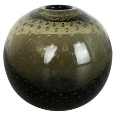 """Vintage Green """"Perlora"""" Glass Vase by Walter Drexel for Wmf, Germany, 1960s"""