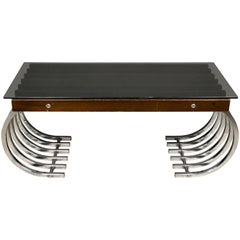 Side Coffee Table in Wood, Chrome and Smoked Glass, Italy, 1970s