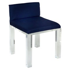 Custom Lucite Vanity Bench or Stool with Thick Lucite Legs and Upholstered Seat