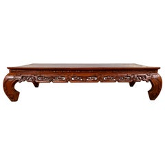 Large Antique Chinese Teak Wood Coffee Table with Hand Carved Scrolled Motifs