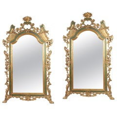 Pair of Italian Rococo Style Painted Mirrors