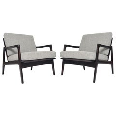 Pair of Danish Modern Ebonized Beech Lounge Chairs